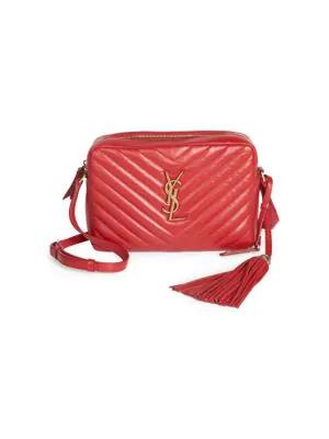 7b303adf57cd Saint Laurent Loulou Monogram Ysl Medium Chevron Quilted Leather Camera  Shoulder Bag In Red