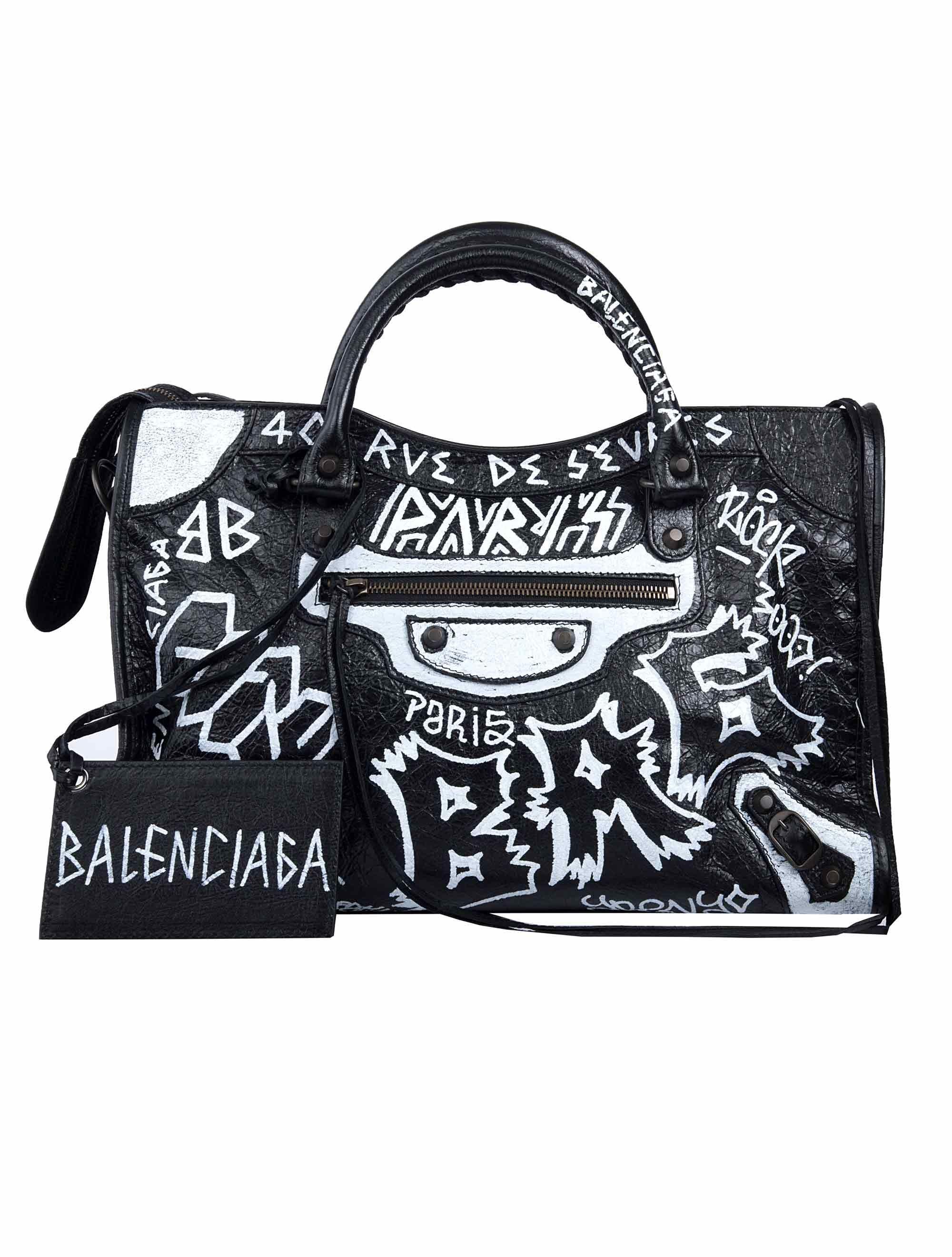 d455fe6389 Balenciaga Classic City Aj Graffiti-Print Satchel Bag In Black ...