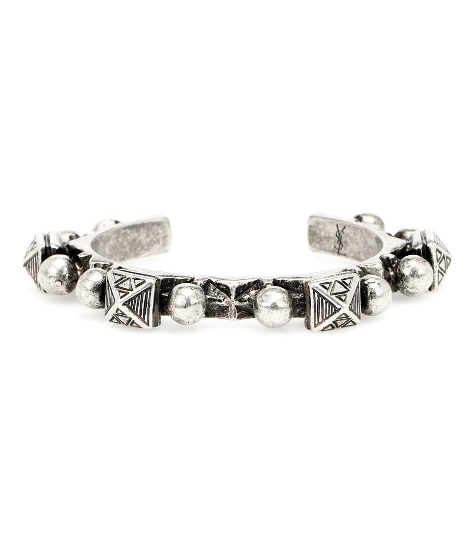 2aa09ea31b4 Saint Laurent Marrakech Silver-Toned Brass Bracelet In Metallic ...