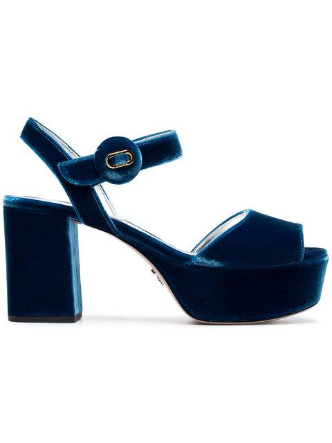Prada Mid-heel Platform Sandals In F0215 Cobal