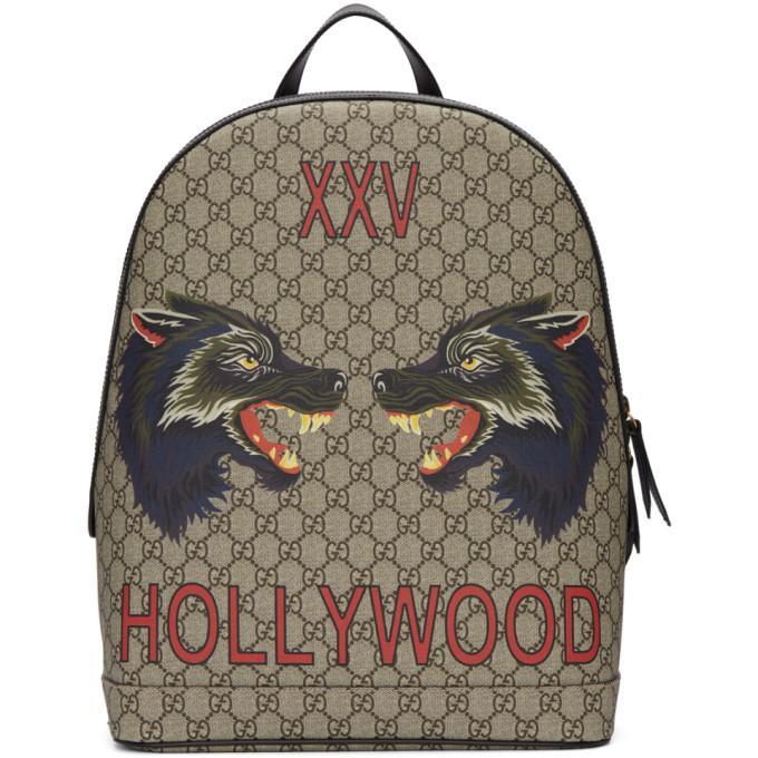 a34c72de3a83 Gucci Wolf-Print Gg Supreme Backpack - Beige, Tan In Neutrals | ModeSens