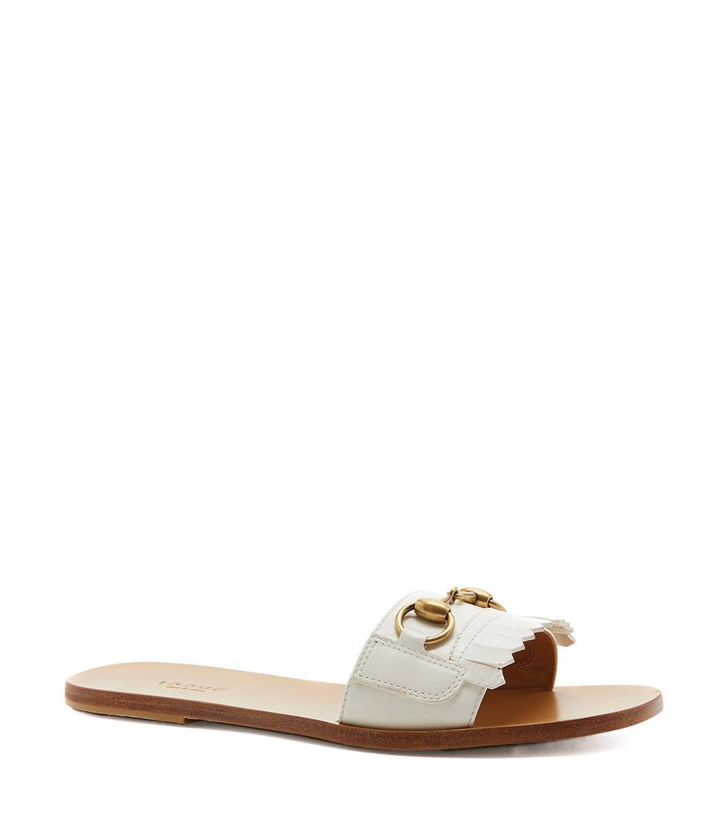 c0f1e6944 Gucci Women s Varadero Fringe Leather Slide Sandals In 9110 White.  ShopBAZAAR. 650Login to see price