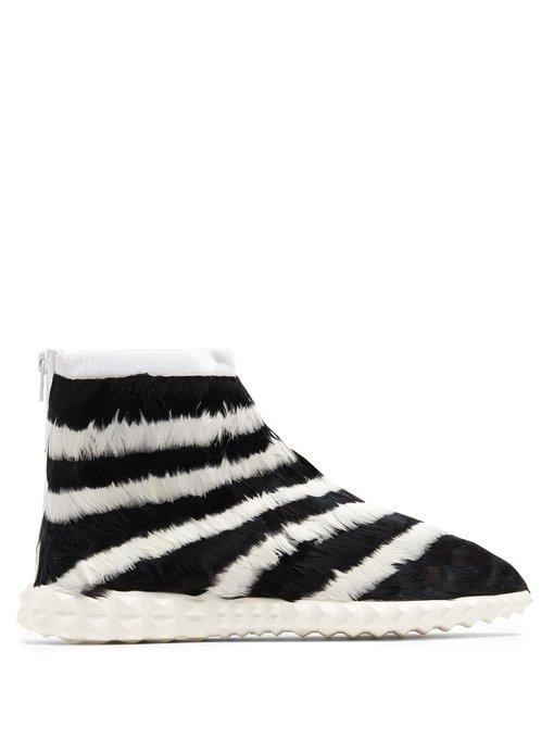 Valentino Free Striped Feather-Embellished High-Top Trainers In White Black