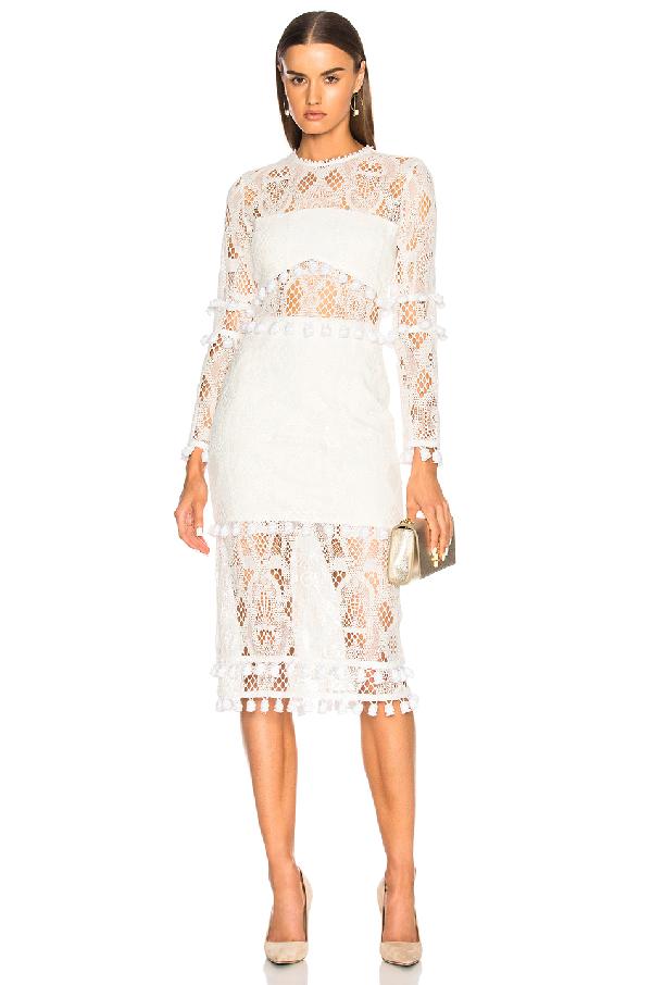 2b94dc91da14 Alexis Callie Long-Sleeve Crochet-Lace Sheath Dress W/ Pompom Trim In White