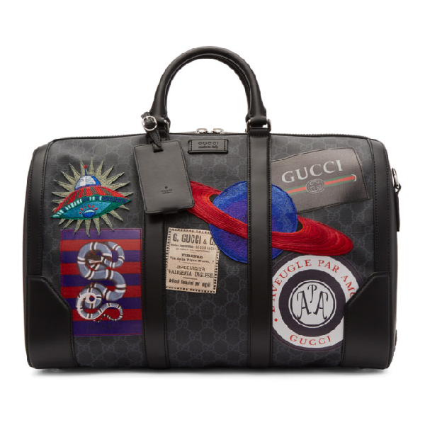 22175f38b Gucci Night Courrier Soft Gg Supreme Carry-On Duffle Bag In Black ...