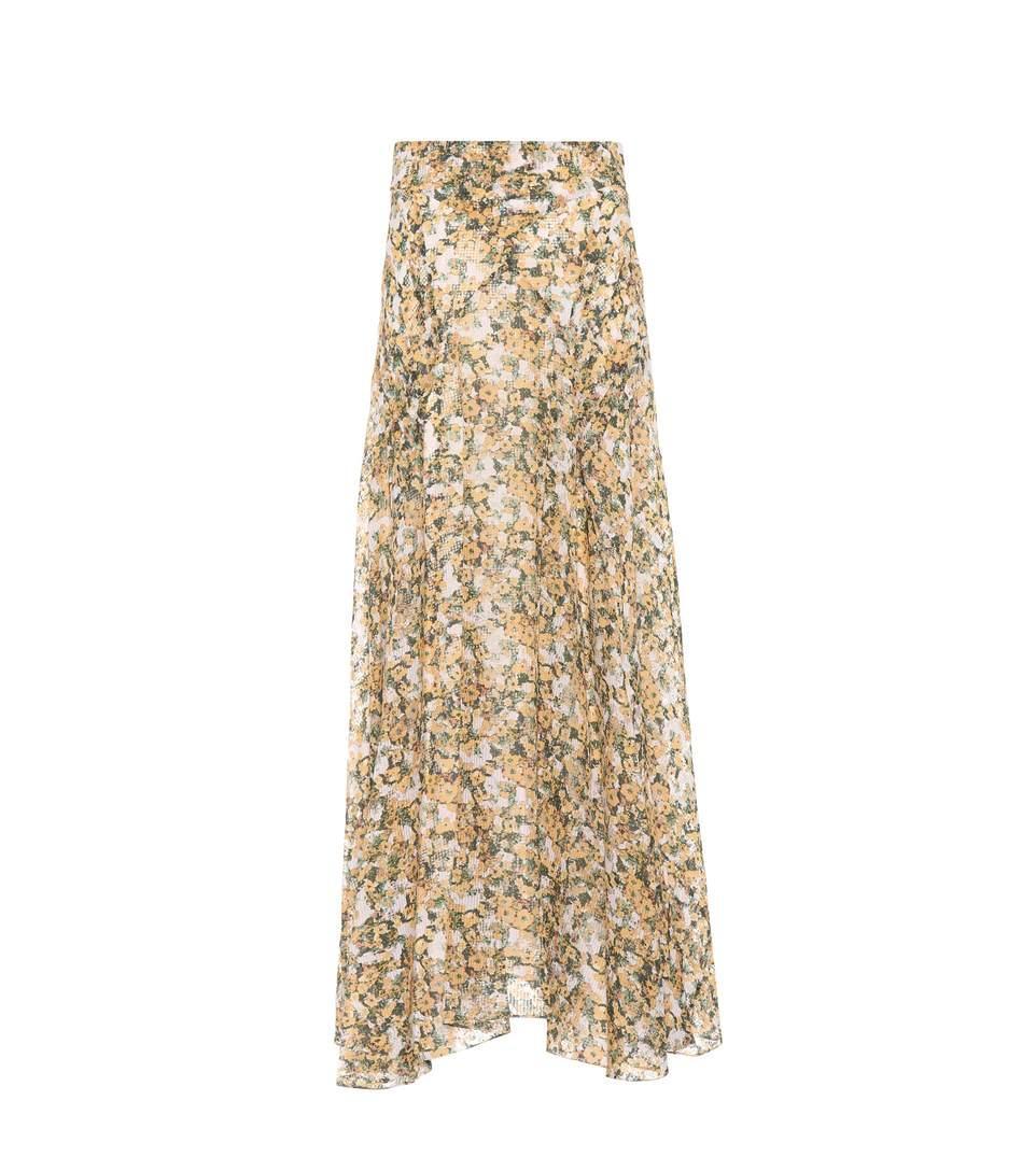 6c864571431 Orange Floral Print Maxi Skirt - Gomes Weine AG