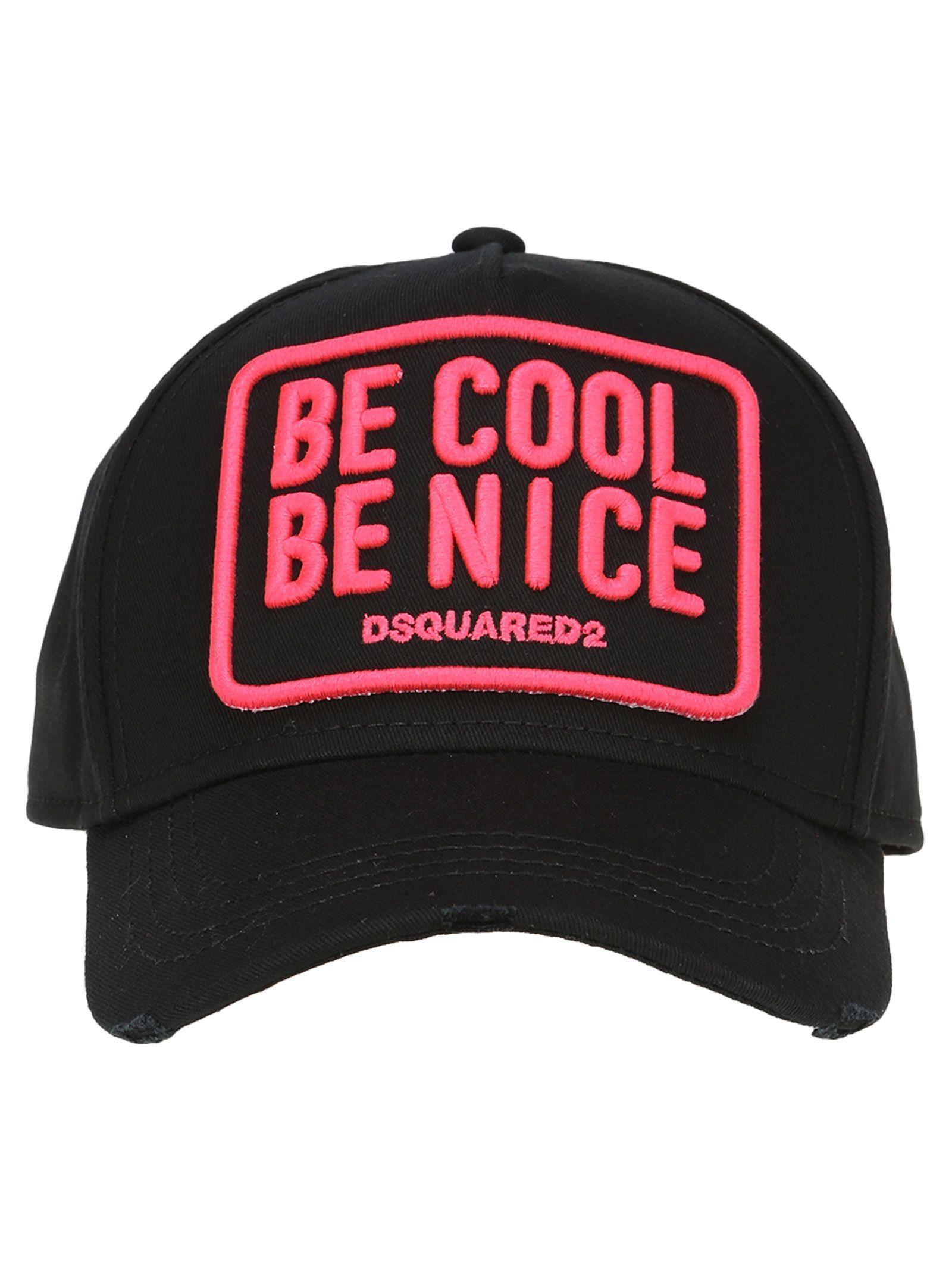 32113c194c1 Dsquared2 Bee Cool Be Nice Black Cotton Baseball Hat In Black Fuchsia