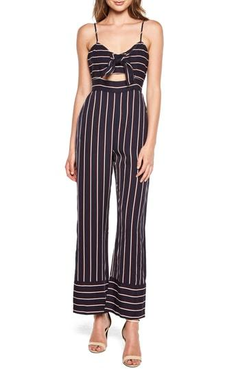 73479514da3 Bardot Lulu Sleeveless Cutout Wide-Leg Striped Jumpsuit In Navy ...