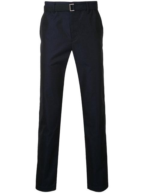 Sacai Belted Tailored Trousers In Dark Blue