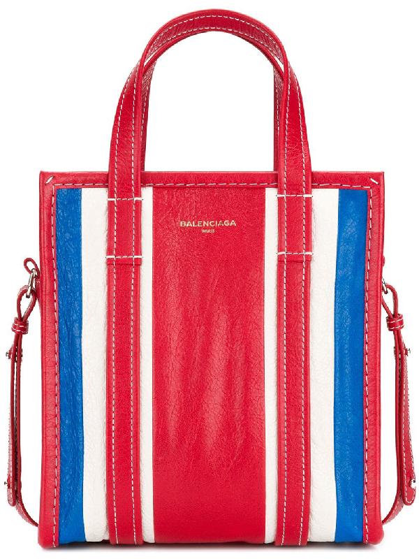 Balenciaga Extra Small Bazar Leather Aj Shopper - Blue In Red