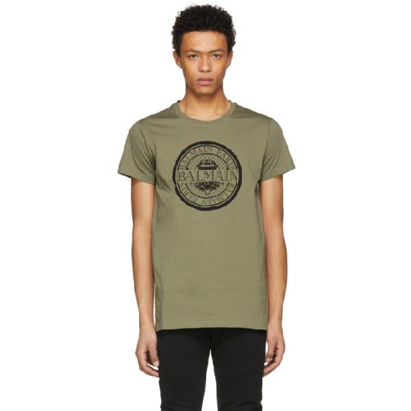 Balmain Slim Fit Coin Logo Cotton Jersey T-shirt In 147 Kaki