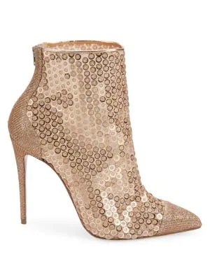 8d40df18adf1 Christian Louboutin Gipsybootie Glitter Mesh Ankle Booties - Version Nude