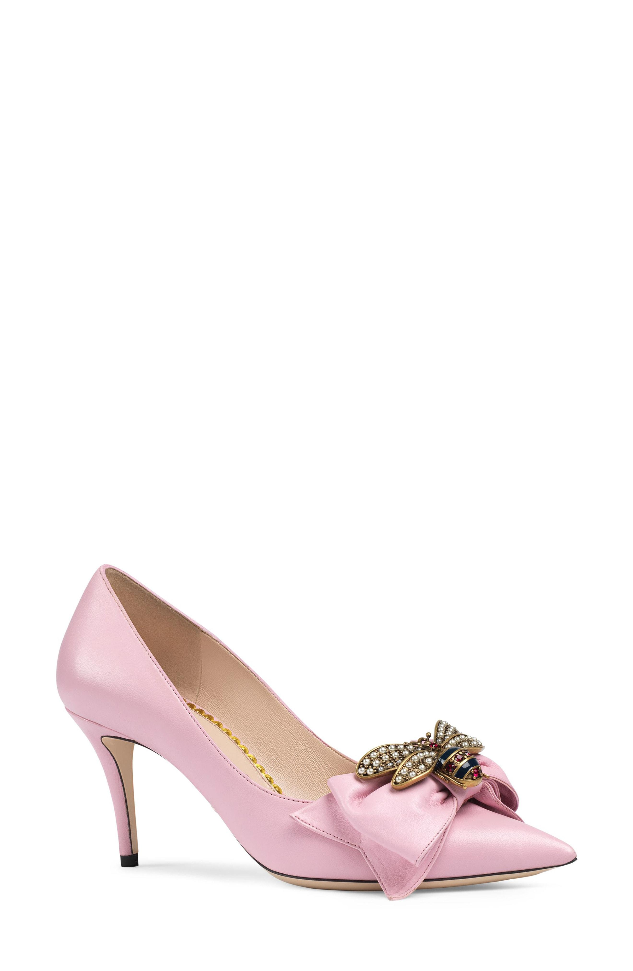 d70855c51c90 Gucci Women s Queen Margaret Embellished Leather Pumps In Baby Pink ...