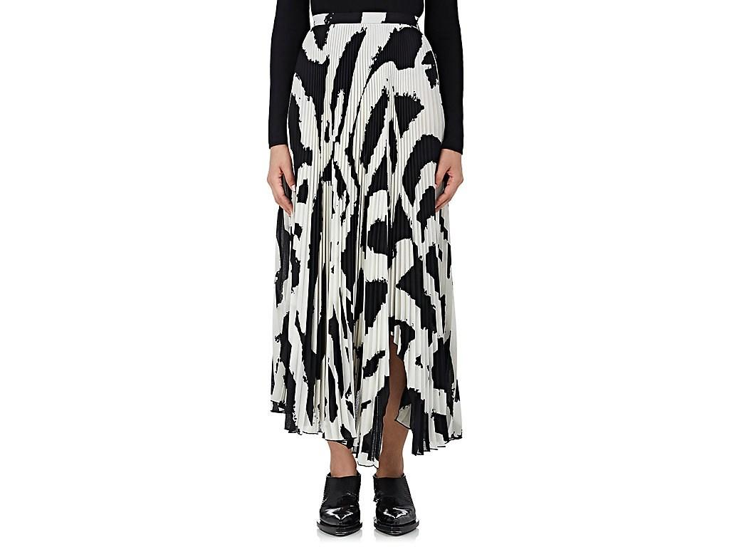 8a3dcfce73 Proenza Schouler Graphic-Print Cut-Out Hem Pleated-Crepe Midi Skirt In White