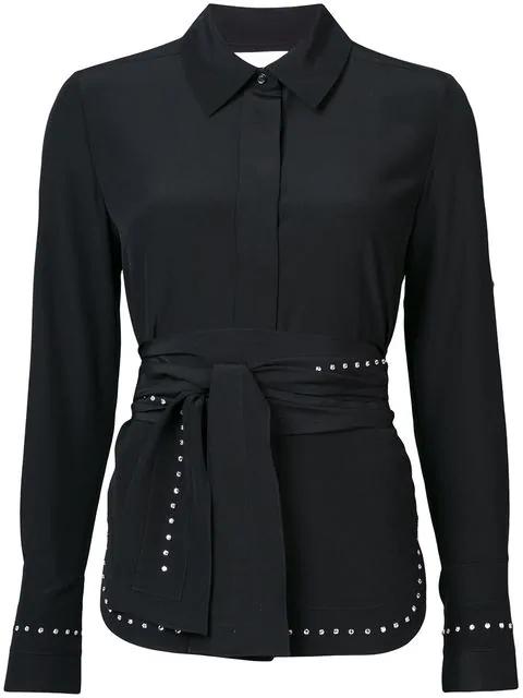 ChloÉ Scarf-neck Crepe De Chine Silk Shirt W/ Rhinestone Embroidery In Black