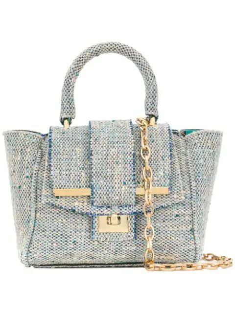 Alila Tweed Crossbody Bag In Aquamarine