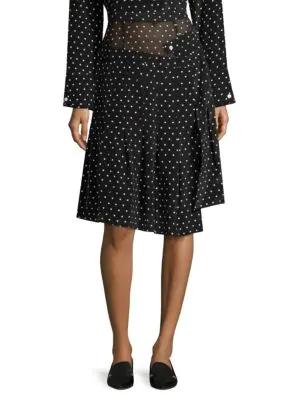 76a993b790 Sandy Liang Uniform Cutout Polk-Dot Silk-Crepe Skirt In Black | ModeSens