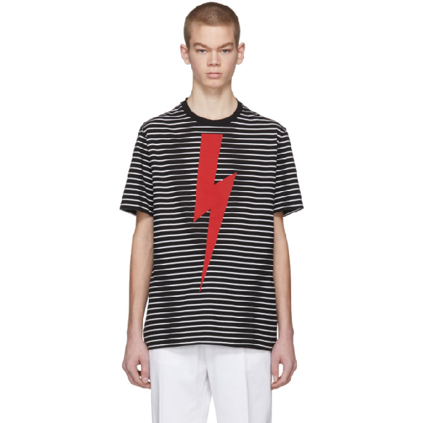 Neil Barrett Black Stripped T-shirt With Red Lighting In 1918