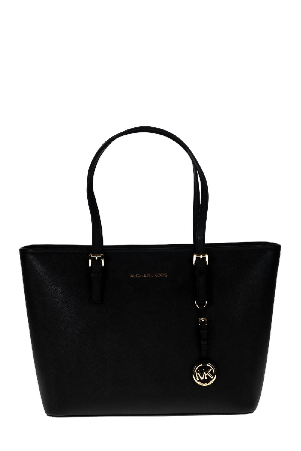 b64ccd7a907a Michael Kors Jet Set Travel Medium Saffiano Leather Top-Zip Tote In Black
