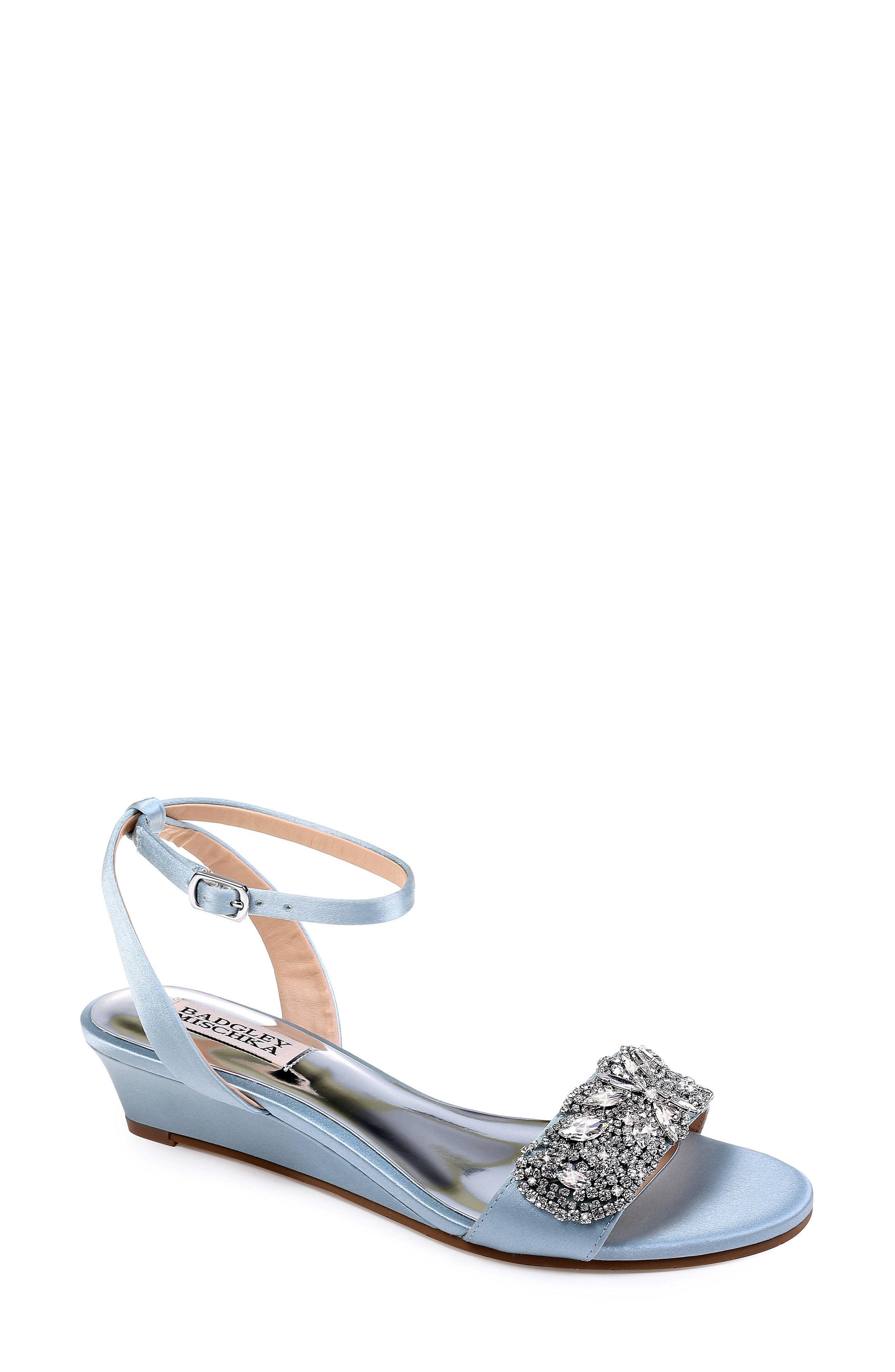 477c8e5239c0 Badgley Mischka Women s Hatch Embellished Satin Demi Wedge Sandals In  Crystal Blue Satin