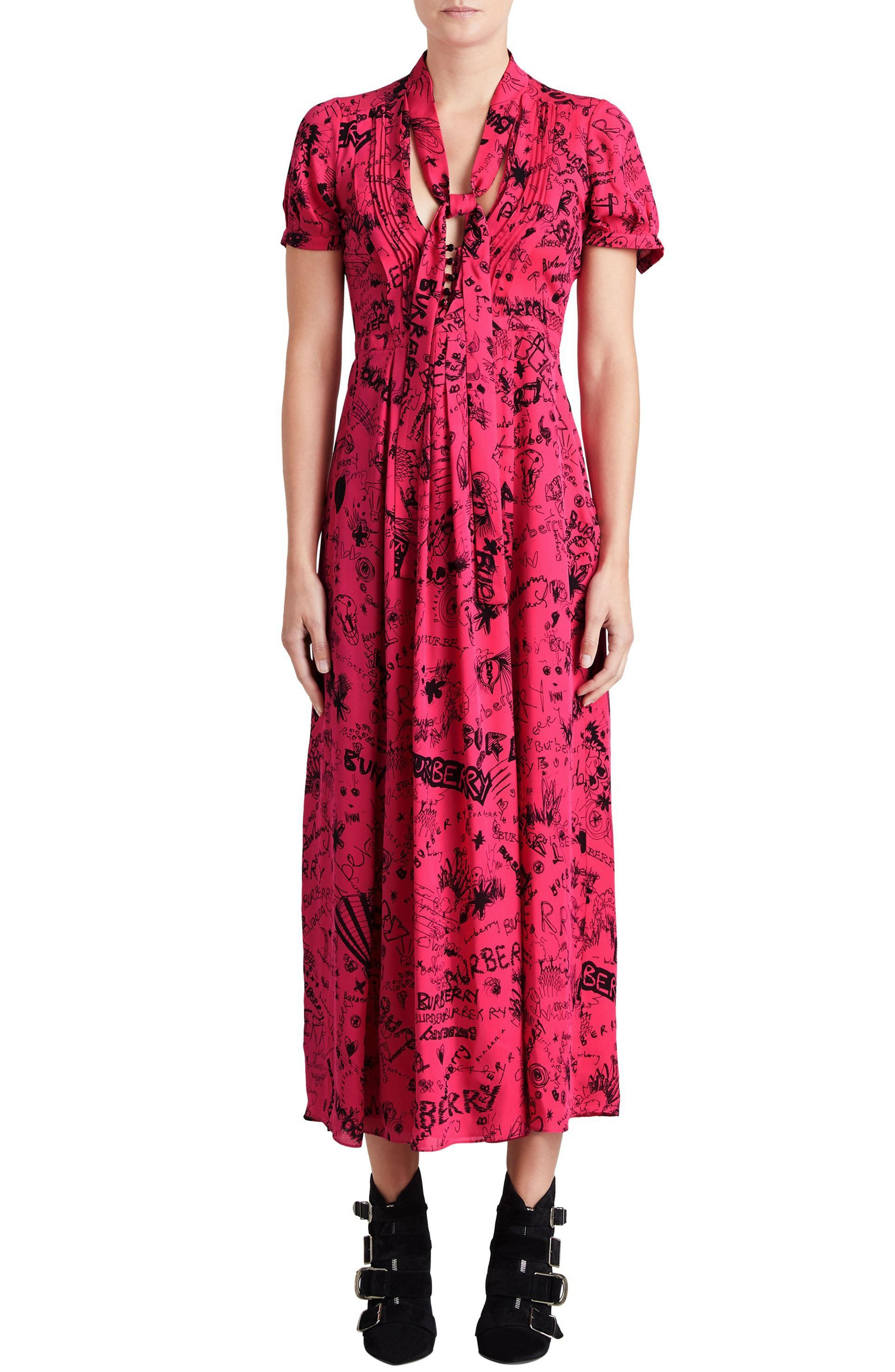04079f51fd0 Burberry Antoniana Doodle Dress In Mulberry Silk In Magenta