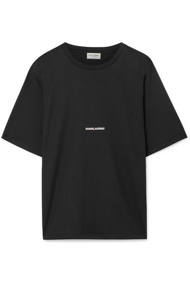 Saint Laurent Oversized Logo-print Cotton-jersey T-shirt In Black
