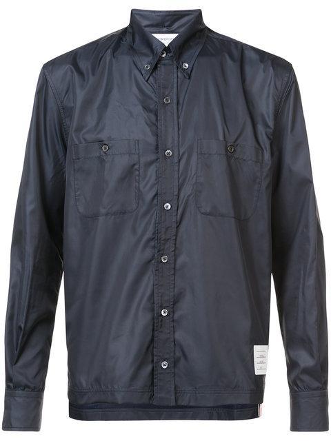 Thom Browne Mesh-lined Ripstop Shirt - Blue