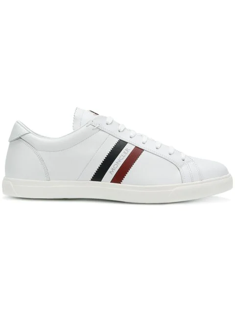 Moncler New Monaco Striped Leather Sneakers In 001 White