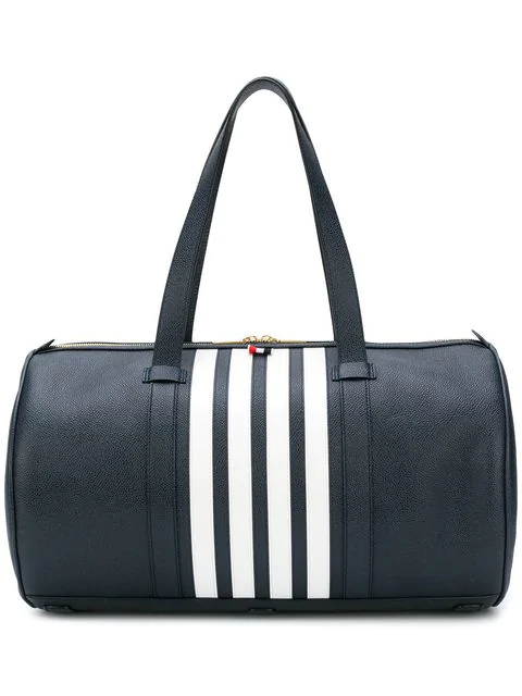 Thom Browne Unstructured Gym Bag With Contrast 4-bar Stripe In Pebble Grain & Calf Leather In Blue