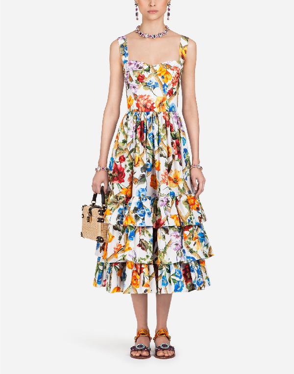 97eb5cb2c8b Dolce   Gabbana Sleeveless Bamboo Climbing Flowers-Print Midi Dress In White