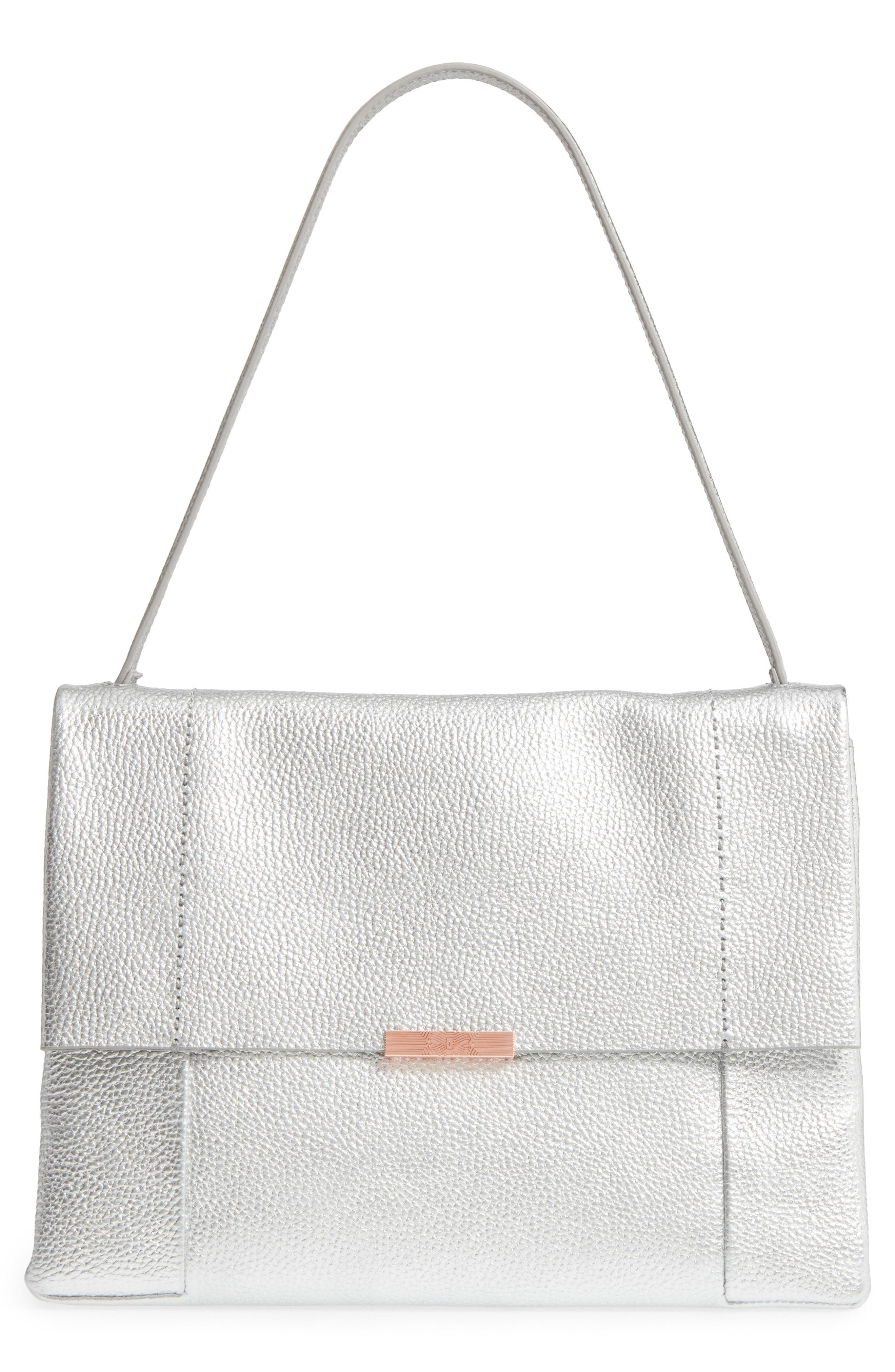 5b7ffb08e Partner Stores. Store Status Price. Ted Baker Proter Leather Shoulder Bag -  Metallic In Silver