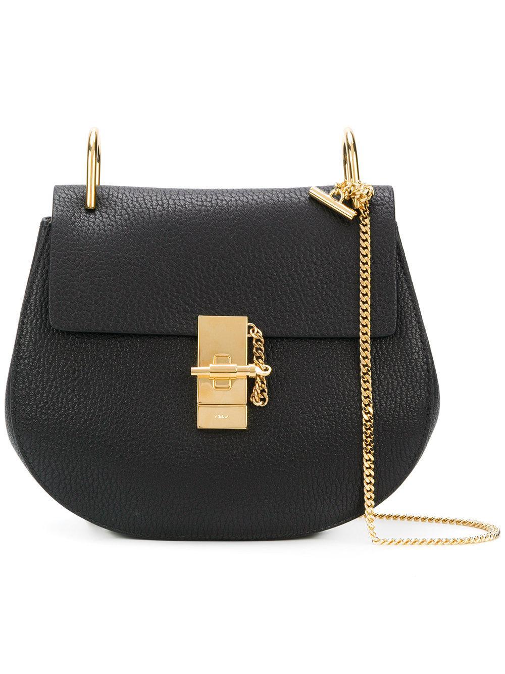 8cf62c88ef ChloÉ Drew Small Textured-Leather Shoulder Bag In Black