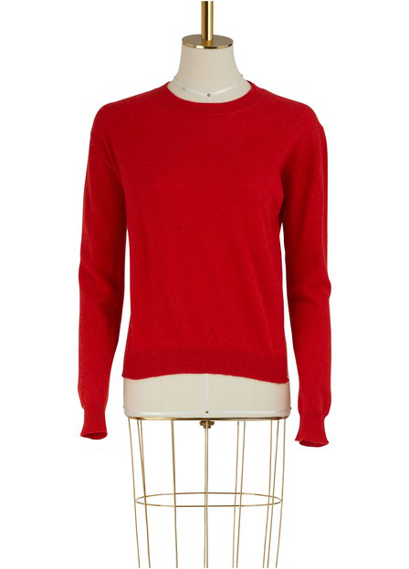 Alexandra Golovanoff Long Sleeves Cachemire And Cotton Pull-Over In Red