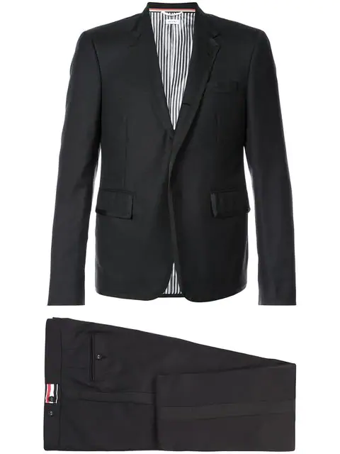 Thom Browne High Armhole Tuxedo And Low Rise Skinny Trouser With Grosgrain Tipping In Super 120's Twill In Black