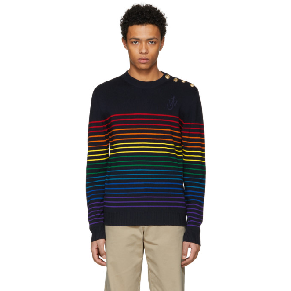 Jw Anderson Striped Extra Fine Wool Sweater In 670921.nmul