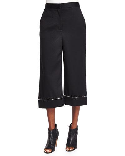 Alexander Wang Woman Embellished Wool Wide-leg Pants Black