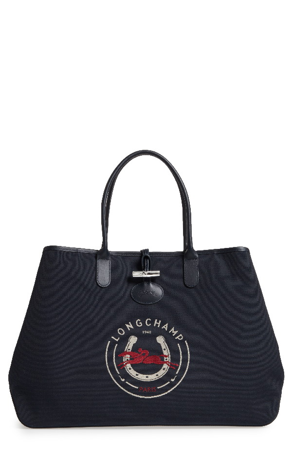 Longchamp Roseau 1948 Extra Large Tote - Blue In Navy