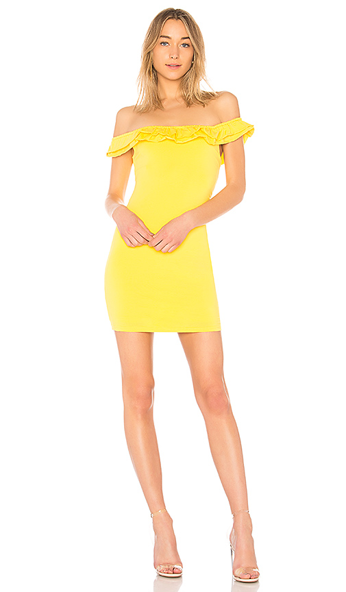 By The Way. Emery Off The Shoulder Ruffle Dress In Yellow