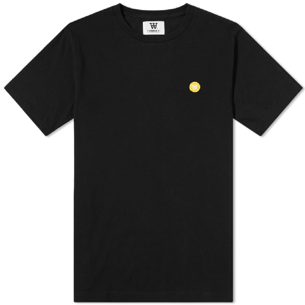 Wood Wood Ace Small Aa Logo Cotton T-shirt In Black