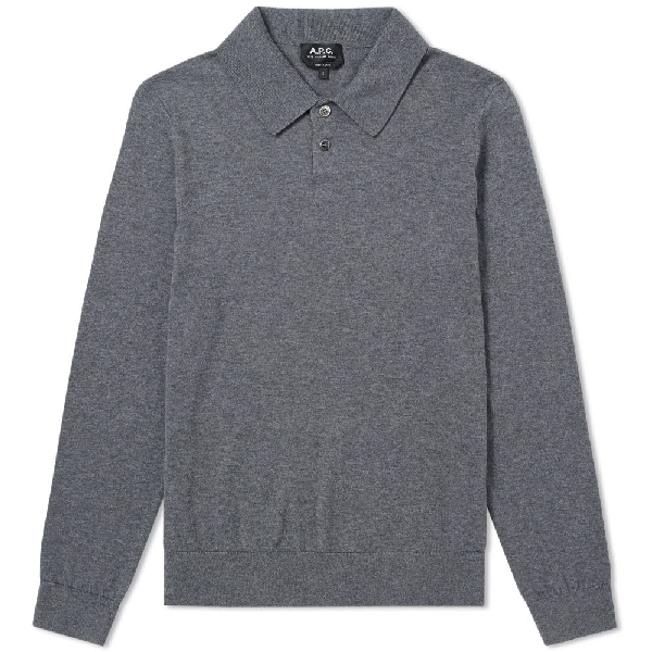 d7569ad1 A.P.C. Michel Knit Polo In Grey   ModeSens
