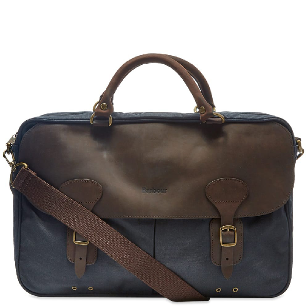 Barbour Waxed Cotton & Leather Briefcase In Blue