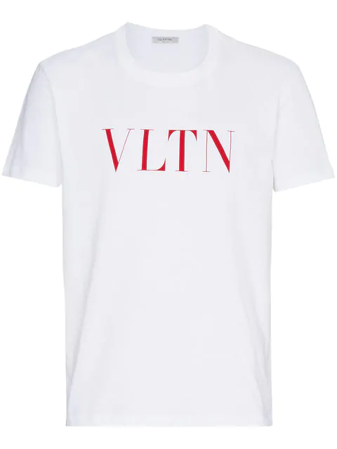 Valentino White Cotton T-shirt With Vltn Logo In 0bo White