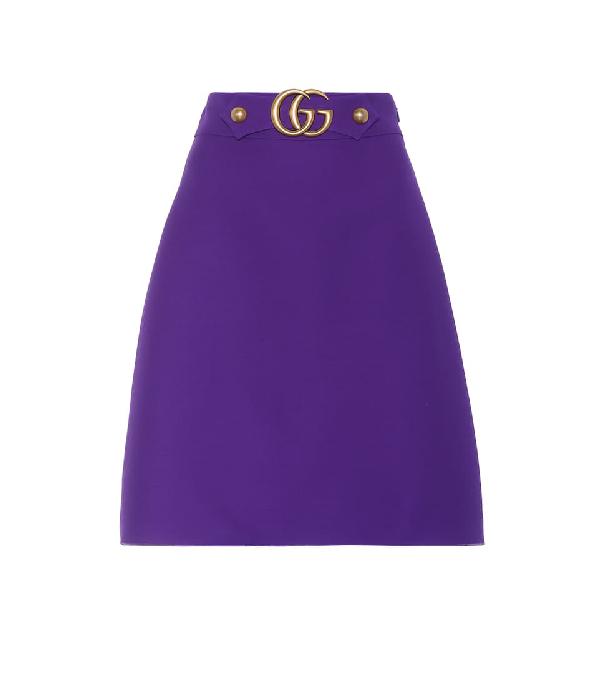 Gucci 带缀饰羊毛真丝混纺半身裙 In Purple