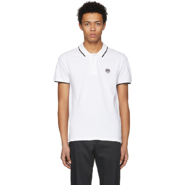 76ef4c84c Kenzo Short-Sleeved Polo With Tiger Crest In White | ModeSens