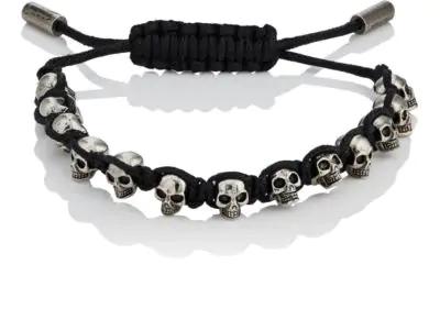 Alexander Mcqueen Black And Silver Metallic Skulls Drawstring Bracelet