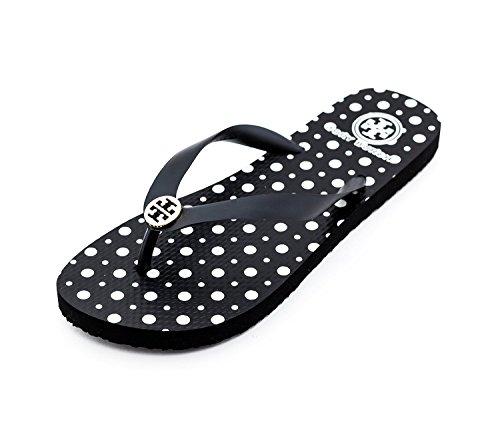 377a982269b561 Tory Burch Tb Logo Black Bryant Flip Flop Sandal Shoes In New Fire ...