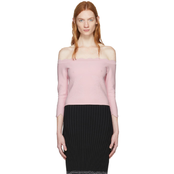 b8781db758aa54 Alexander Mcqueen Off-The-Shoulder MatelassÉ Cropped Top In 5805 Rose