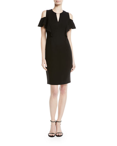 8f6bf3cebd6a Elie Tahari Johari Ruffle-Sleeve Sheath Dress In Black | ModeSens
