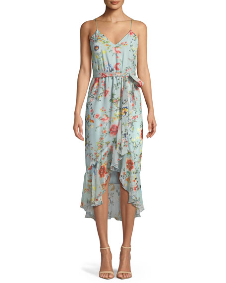 b958dbc2352c9 Alice And Olivia Mable Wrap-Effect Floral-Print Silk-Georgette Midi Dress In