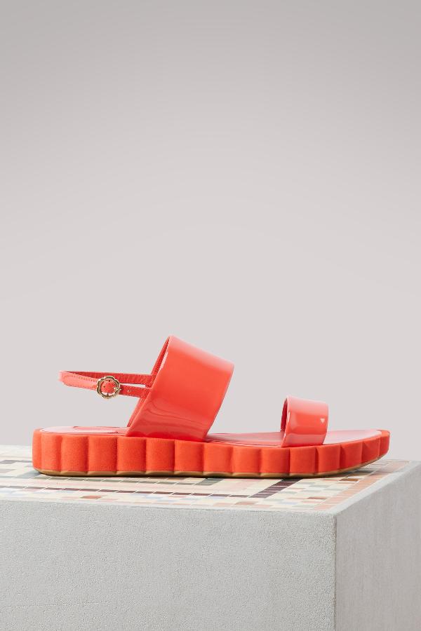 984526a21501 Salvatore Ferragamo Lusia Flatform Sandals In Coral